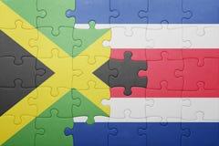 Γρίφος με τη εθνική σημαία της Κόστα Ρίκα και της Τζαμάικας Στοκ Φωτογραφία