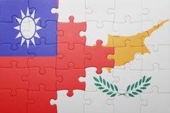 γρίφος με τη εθνική σημαία της Κύπρου και της Ταϊβάν Στοκ Φωτογραφία