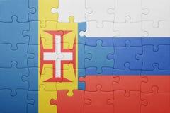 Γρίφος με τη εθνική σημαία της Μαδέρας και της Ρωσίας Στοκ Εικόνες