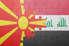Γρίφος με τη εθνική σημαία της Μακεδονίας και του Ιράκ Στοκ Εικόνες