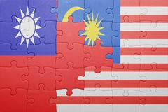 Γρίφος με τη εθνική σημαία της Μαλαισίας και της Ταϊβάν Στοκ Εικόνες