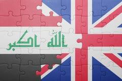Γρίφος με τη εθνική σημαία της Μεγάλης Βρετανίας και του Ιράκ Στοκ Εικόνες