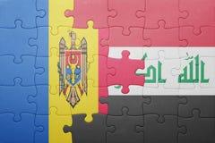 γρίφος με τη εθνική σημαία της Μολδαβίας και του Ιράκ Στοκ Εικόνες