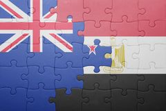 γρίφος με τη εθνική σημαία της Νέας Ζηλανδίας και της Αιγύπτου Στοκ Εικόνα