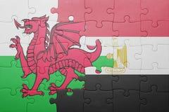 γρίφος με τη εθνική σημαία της Ουαλίας και της Αιγύπτου Στοκ εικόνες με δικαίωμα ελεύθερης χρήσης