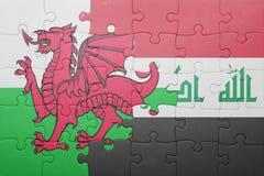Γρίφος με τη εθνική σημαία της Ουαλίας και του Ιράκ Στοκ Φωτογραφίες