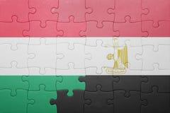 γρίφος με τη εθνική σημαία της Ουγγαρίας και της Αιγύπτου Στοκ φωτογραφία με δικαίωμα ελεύθερης χρήσης