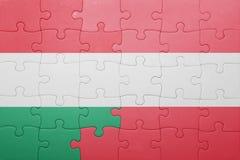 Γρίφος με τη εθνική σημαία της Ουγγαρίας και της Αυστρίας Στοκ Εικόνα