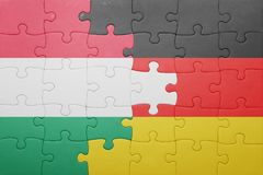 Γρίφος με τη εθνική σημαία της Ουγγαρίας και της Γερμανίας Στοκ Φωτογραφίες