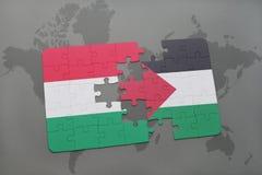 γρίφος με τη εθνική σημαία της Ουγγαρίας και της Παλαιστίνης σε έναν παγκόσμιο χάρτη Στοκ Εικόνες