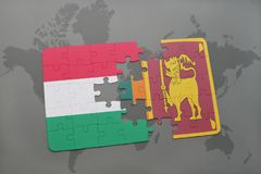 γρίφος με τη εθνική σημαία της Ουγγαρίας και της Σρι Λάνκα σε έναν παγκόσμιο χάρτη Στοκ φωτογραφία με δικαίωμα ελεύθερης χρήσης