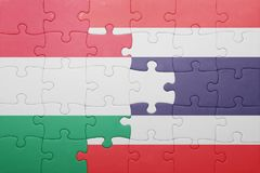 Γρίφος με τη εθνική σημαία της Ουγγαρίας και της Ταϊλάνδης Στοκ φωτογραφία με δικαίωμα ελεύθερης χρήσης