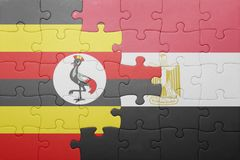 γρίφος με τη εθνική σημαία της Ουγκάντας και της Αιγύπτου Στοκ Εικόνα
