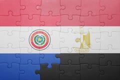 γρίφος με τη εθνική σημαία της Παραγουάης και της Αιγύπτου Στοκ εικόνες με δικαίωμα ελεύθερης χρήσης