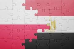 γρίφος με τη εθνική σημαία της Πολωνίας και της Αιγύπτου Στοκ Φωτογραφία