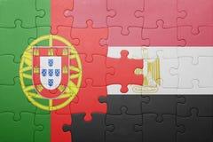 γρίφος με τη εθνική σημαία της Πορτογαλίας και της Αιγύπτου Στοκ Εικόνες