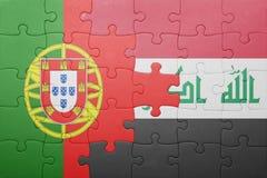 Γρίφος με τη εθνική σημαία της Πορτογαλίας και του Ιράκ Στοκ Εικόνα
