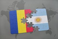 γρίφος με τη εθνική σημαία της Ρουμανίας και της Αργεντινής σε έναν παγκόσμιο χάρτη Στοκ Εικόνες