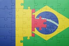 Γρίφος με τη εθνική σημαία της Ρουμανίας και της Βραζιλίας Στοκ Φωτογραφίες