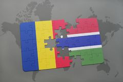 γρίφος με τη εθνική σημαία της Ρουμανίας και της Γκάμπιας σε έναν παγκόσμιο χάρτη Στοκ Φωτογραφία