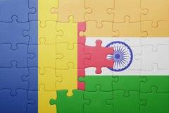 Γρίφος με τη εθνική σημαία της Ρουμανίας και της Ινδίας Στοκ εικόνες με δικαίωμα ελεύθερης χρήσης