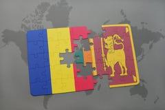 γρίφος με τη εθνική σημαία της Ρουμανίας και της Σρι Λάνκα σε έναν παγκόσμιο χάρτη Στοκ Φωτογραφία