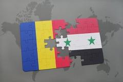 γρίφος με τη εθνική σημαία της Ρουμανίας και της Συρίας σε έναν παγκόσμιο χάρτη Στοκ Εικόνα