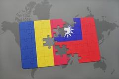 γρίφος με τη εθνική σημαία της Ρουμανίας και της Ταϊβάν σε έναν παγκόσμιο χάρτη Στοκ Εικόνες