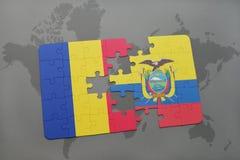 γρίφος με τη εθνική σημαία της Ρουμανίας και του Ισημερινού σε έναν παγκόσμιο χάρτη Στοκ εικόνα με δικαίωμα ελεύθερης χρήσης
