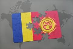 γρίφος με τη εθνική σημαία της Ρουμανίας και του Κιργιζιστάν σε έναν παγκόσμιο χάρτη Στοκ εικόνες με δικαίωμα ελεύθερης χρήσης