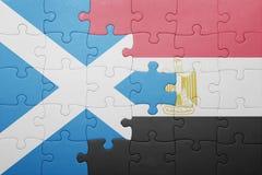 γρίφος με τη εθνική σημαία της Σκωτίας και της Αιγύπτου Στοκ φωτογραφία με δικαίωμα ελεύθερης χρήσης