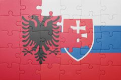Γρίφος με τη εθνική σημαία της Σλοβακίας και της Αλβανίας Στοκ Εικόνες