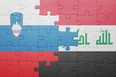 Γρίφος με τη εθνική σημαία της Σλοβενίας και του Ιράκ Στοκ φωτογραφίες με δικαίωμα ελεύθερης χρήσης