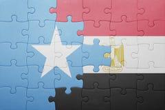 γρίφος με τη εθνική σημαία της Σομαλίας και της Αιγύπτου Στοκ φωτογραφία με δικαίωμα ελεύθερης χρήσης