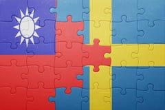 Γρίφος με τη εθνική σημαία της Σουηδίας και της Ταϊβάν Στοκ Εικόνα