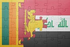 Γρίφος με τη εθνική σημαία της Σρι Λάνκα και του Ιράκ Στοκ Εικόνες