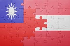 Γρίφος με τη εθνική σημαία της Ταϊβάν και της Αυστρίας Στοκ Εικόνες