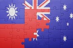 Γρίφος με τη εθνική σημαία της Ταϊβάν και της Αυστραλίας Στοκ εικόνα με δικαίωμα ελεύθερης χρήσης