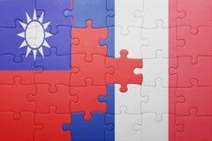 Γρίφος με τη εθνική σημαία της Ταϊβάν και της Γαλλίας Στοκ Εικόνες