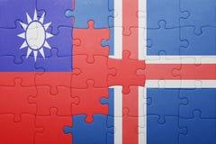 γρίφος με τη εθνική σημαία της Ταϊβάν και της Ισλανδίας Στοκ Εικόνες