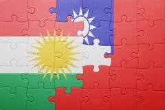 Γρίφος με τη εθνική σημαία της Ταϊβάν και Κουρδιστάν Στοκ εικόνα με δικαίωμα ελεύθερης χρήσης
