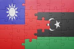 Γρίφος με τη εθνική σημαία της Ταϊβάν και της Λιβύης Στοκ Εικόνες