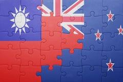 Γρίφος με τη εθνική σημαία της Ταϊβάν και της Νέας Ζηλανδίας Στοκ φωτογραφίες με δικαίωμα ελεύθερης χρήσης