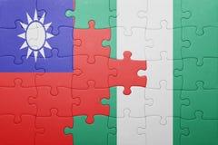 γρίφος με τη εθνική σημαία της Ταϊβάν και της Νιγηρίας Στοκ φωτογραφία με δικαίωμα ελεύθερης χρήσης