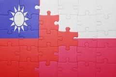 Γρίφος με τη εθνική σημαία της Ταϊβάν και της Πολωνίας Στοκ φωτογραφίες με δικαίωμα ελεύθερης χρήσης