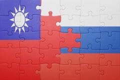 Γρίφος με τη εθνική σημαία της Ταϊβάν και της Ρωσίας Στοκ Φωτογραφίες