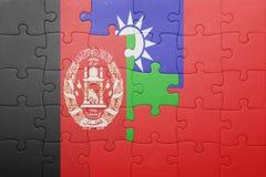 Γρίφος με τη εθνική σημαία της Ταϊβάν και του Αφγανιστάν Στοκ Εικόνα