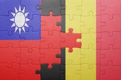 γρίφος με τη εθνική σημαία της Ταϊβάν και του Βελγίου Στοκ φωτογραφία με δικαίωμα ελεύθερης χρήσης