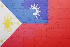 Γρίφος με τη εθνική σημαία της Ταϊβάν και των Φιλιππινών Στοκ φωτογραφία με δικαίωμα ελεύθερης χρήσης