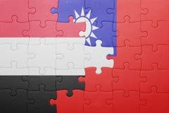 Γρίφος με τη εθνική σημαία της Ταϊβάν και της Υεμένης Στοκ Εικόνα
